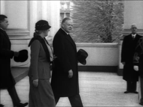 Herbert Lou Hoover exiting White House greeting Eleanor Roosevelt