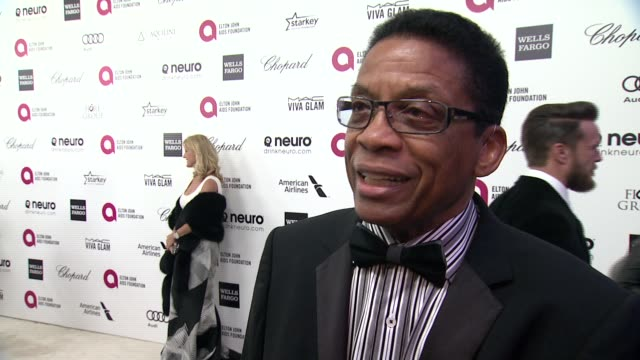 herbie hancock on being at the event, and on elton john at the 23rd annual elton john aids foundation academy awards viewing party sponsored by... - herbie hancock stock-videos und b-roll-filmmaterial