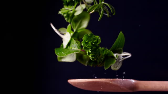 herbs on a spoon in super slow motion 1000 fps - organic stock videos & royalty-free footage
