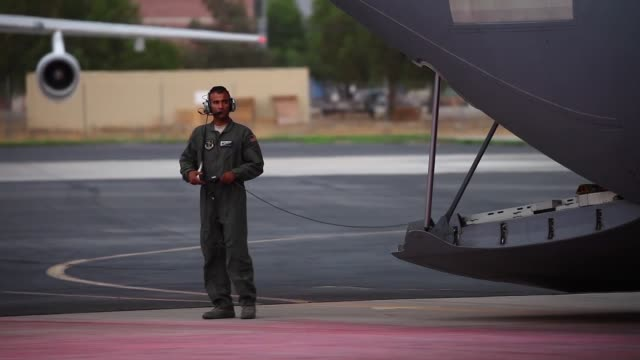 hercules aircraft from the 146th airlift wing california air national guard equipped with maffs 4 a modular airborne firefighting system arrives at... - national guard stock videos and b-roll footage
