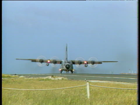 RAF Hercules comes into land at Port Stanley airfield after end of Falkland Conflict 08 Mar 83