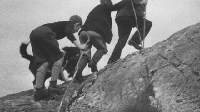 1944 montage herder climbing up highland peak with sheepdogs alongside / achriesgill, scotland, united kingdom - achriesgill stock videos and b-roll footage