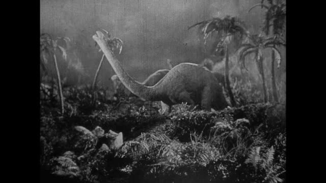 1925 herds of dinosaurs flee erupting volcano, smoke and burning trees - 1925 stock videos & royalty-free footage