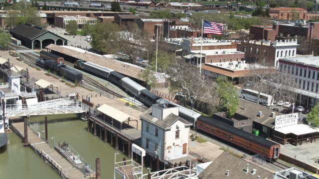 heritage train in sacramento, california - aerial - sacramento stock videos & royalty-free footage