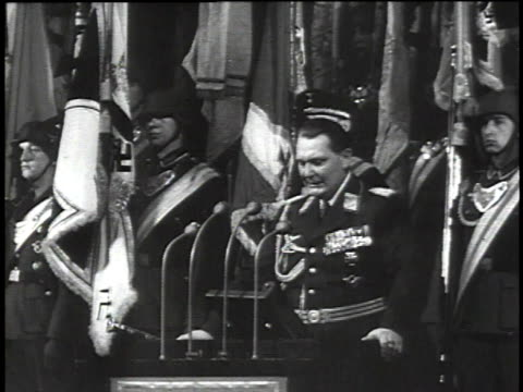 herman goring speaking about adolf hitler at a wreath laying ceremony / crowds of people cheering / map of austria - hermann goering stock videos & royalty-free footage