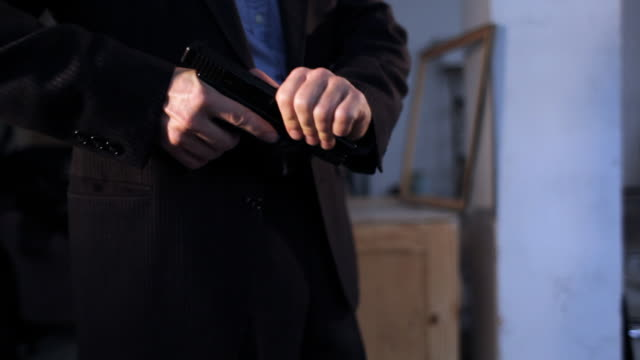 Hero or detective entering, screaming at criminals - two shots