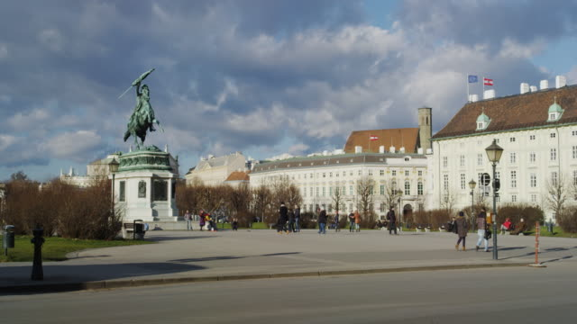 hero square with hofburg palace and the statue of archduke charles of austria - vienna austria stock videos & royalty-free footage