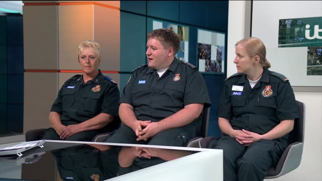 interview with paramedics who saved fiveyear old girl after being shot england london gir int sheridan best james lafferty and caroline appleby live... - itv lunchtime news stock videos & royalty-free footage