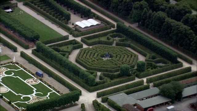 herrenhausen gardens  - aerial view - lower saxony,  germany - maze stock videos and b-roll footage