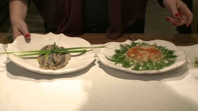 herring fillets and fish in aspic - chive stock videos & royalty-free footage