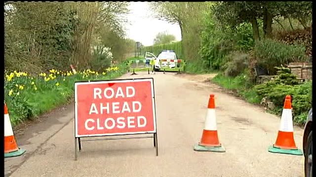 hertfordshire body parts case: police reveal further information; lib england: hertfordshire: standon: ext 'road ahead closed' sign at road block... - torso stock videos & royalty-free footage