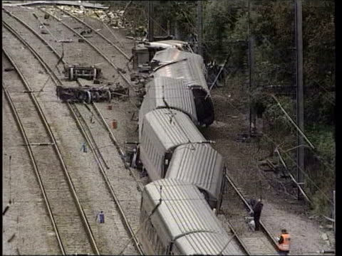 hatfield tgvs derailed train potters bar station gvs emergency service workers at scene of train crash - hatfield stock videos and b-roll footage
