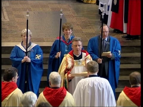 hertfordshire st albans int dr jeffrey john towards in church as being installed as dean of st albans tgvs church service tbv john standing during... - ceremonial robe stock videos and b-roll footage