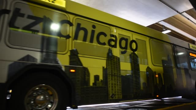 Hertz Global Holdings Inc shuttle buses pick up and drop off travelers at O'Hare International Airport in Chicago Illinois US August 6 2012 Shots...