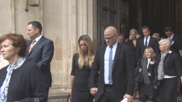 heston blumenthal leaving at a service of thanksgiving for the life and work of sir terry wogan at westminster abbey on september 27, 2016 in london,... - terry wogan stock-videos und b-roll-filmmaterial
