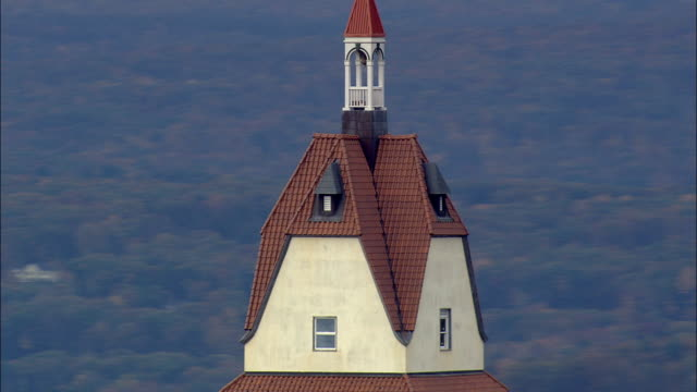 heublein tower  - aerial view - connecticut,  hartford county,  united states - connecticut stock videos & royalty-free footage