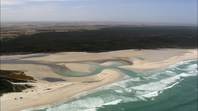 Heuningsnesrivier river to sea,  - Aerial View - Western Cape,  Overberg District Municipality,  Cape Agulhas,  South Africa
