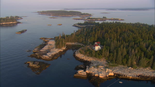 low aerial, hewet island at sunrise, maine, usa - remote location stock videos & royalty-free footage