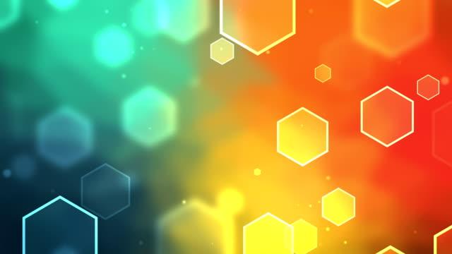 vídeos de stock, filmes e b-roll de hexágono fundo colorido circulares - laranja descrição de cor