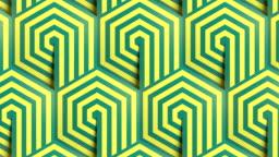 Hexagon striped geometric pattern background seamless loop animation. Line art template. Optical illusion design. 3d render HD
