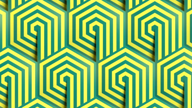 hexagon striped geometric pattern background seamless loop animation. line art template. optical illusion design. 3d render hd - eternity stock videos & royalty-free footage