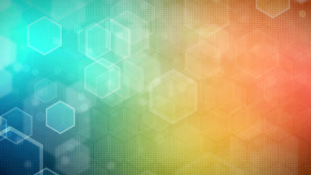 hexagonal colorful background (loopable) - orange stock videos & royalty-free footage