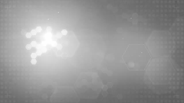 ansa esagonale progettato sfondo grigio (full hd) - viraggio monocromo video stock e b–roll
