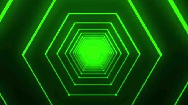 hexagonal tunnel - glowing doorway stock videos & royalty-free footage