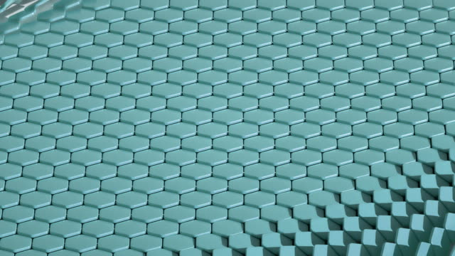 hexagons waves blue (loop) - clonazione video stock e b–roll