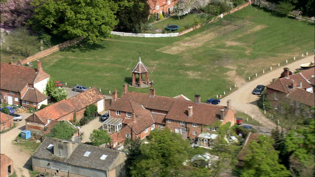 heydon village and hall  - aerial view - england, norfolk, broadland, united kingdom - town hall stock videos & royalty-free footage
