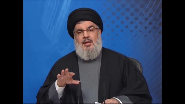 hezbollah secretary general sayyed hasan nasrallah delivers a live televised speech on tuesday to touch upon the latest developments in lebanon and... - television show stock videos & royalty-free footage
