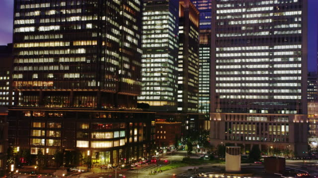 Hi Rise Office Buildings around Tokyo Station at Night