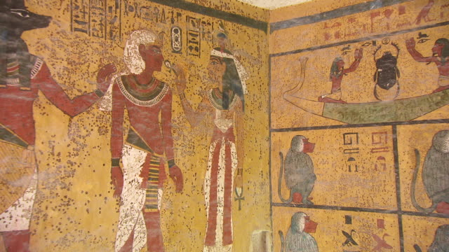 CU ZO Hieroglyph painting on the wall of King Tut's Tomb / Egypt