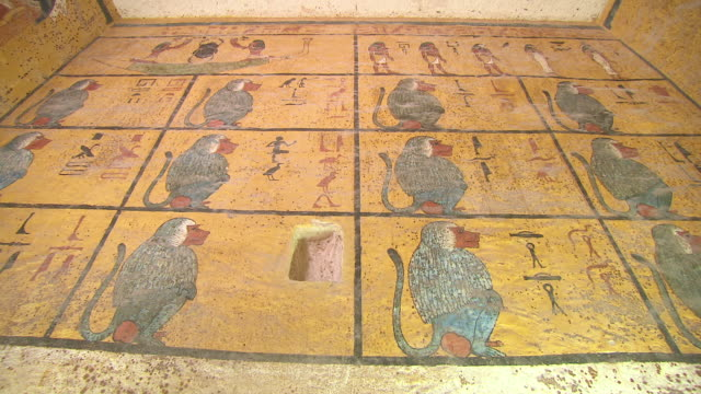 cu zo hieroglyph painting on wall of king tut's tomb / egypt - hieroglyph stock videos & royalty-free footage