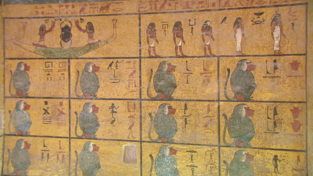 cu zo hieroglyph painting on wall of king tut's tomb / egypt - tomb stock videos & royalty-free footage