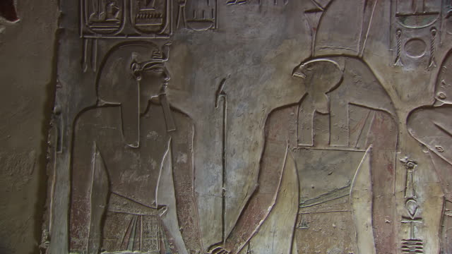 CU Hieroglyphic carving on wall of temple Seti 1 / Egypt