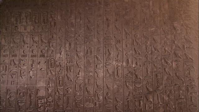 hieroglyphics decorate the walls of a tomb at saqqara, egypt. - geroglifico video stock e b–roll