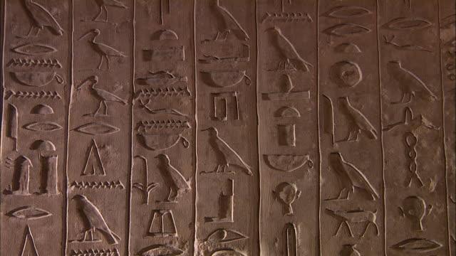 hieroglyphics decorate the walls of a tomb at saqqara, giza, egypt. - geroglifico video stock e b–roll