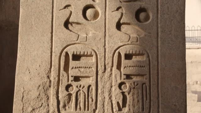 hieroglyphics, luxor temple, egypt - geroglifico video stock e b–roll