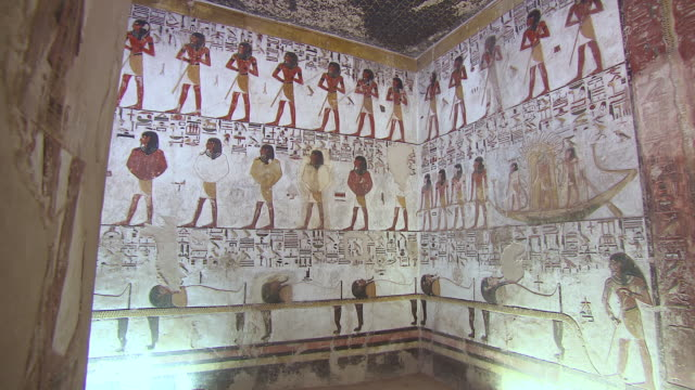 ms pan hieroglyphics paintings in the tomb of seti 1 / egypt - hieroglyph stock videos & royalty-free footage