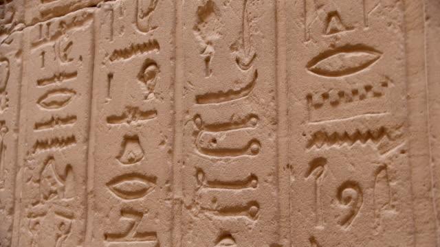 hieroglyphics, temple of edfu, egypt - geroglifico video stock e b–roll