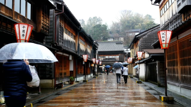 higashi chaya district in kanazawa with raining, japan - urban road stock videos & royalty-free footage