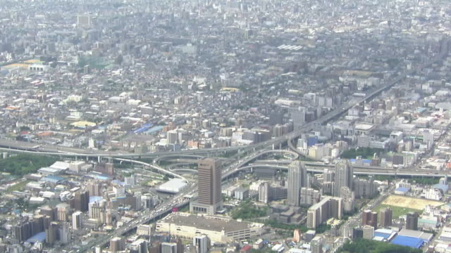 aerial, higashi osaka junction, osaka, japan - local government building stock videos & royalty-free footage