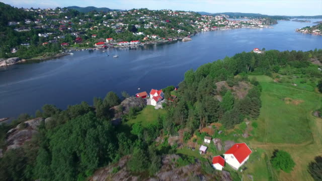 high above coastal kragero - telemark stock videos and b-roll footage