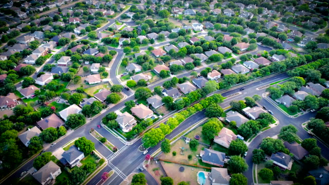 high above huge massive suburb community expanding in the most popular city of austin , texas - texas stock videos & royalty-free footage