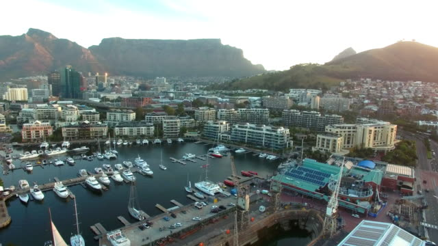 high above the victoria and albert waterfront - cape town stock videos & royalty-free footage