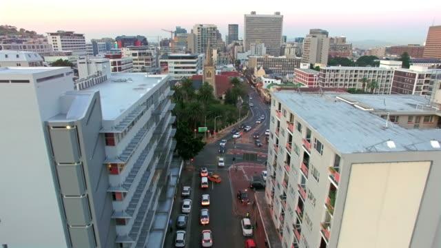 High above urban thoroughfares