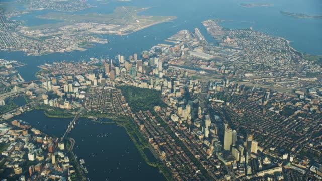 high altitude shot of downtown boston - back bay boston stock videos & royalty-free footage