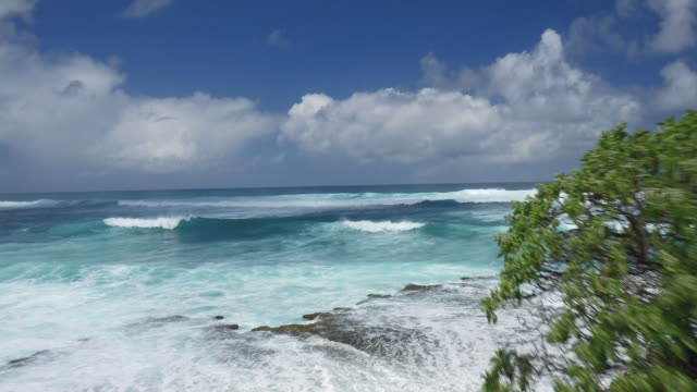high angle aerial shot of ocean during mid day - turtle bay hawaii stock videos and b-roll footage