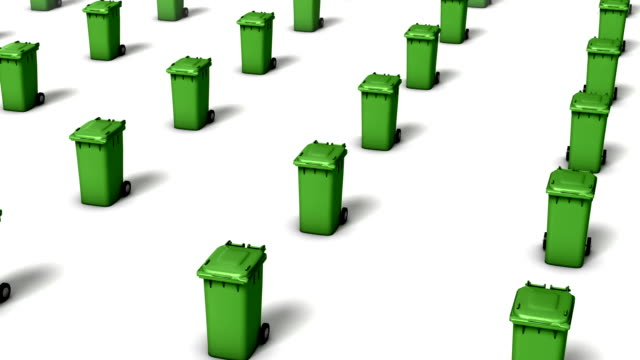 high angle arc pull back revealing endless trash cans (green) - wastepaper bin stock videos & royalty-free footage